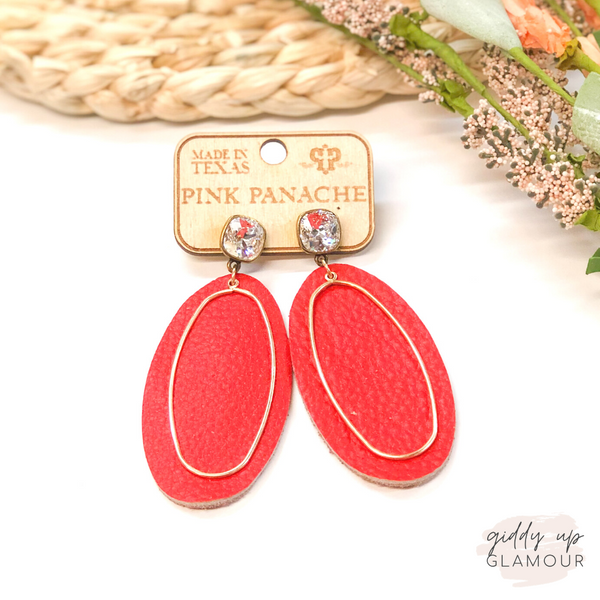 Pink Panache | Cushion Cut, Leather & Gold Accent Earrings in Red