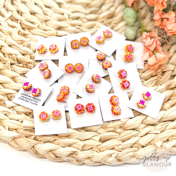 Navajo | Beaded Stud Earrings in Pink, Yellow, and Orange