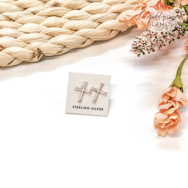 Lorraine Chee | Navajo Handmade Sterling Cross Stud Earrings