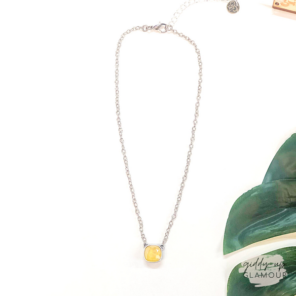 Pink Panache | Silver Chain Necklace with Cushion Cut Crystal in Buttercup Yellow