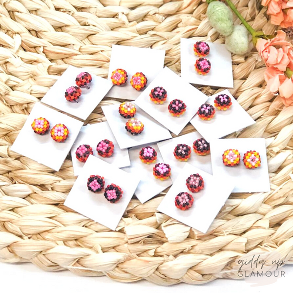 Navajo | Beaded Stud Earrings in Pink, Yellow, Orange and Black