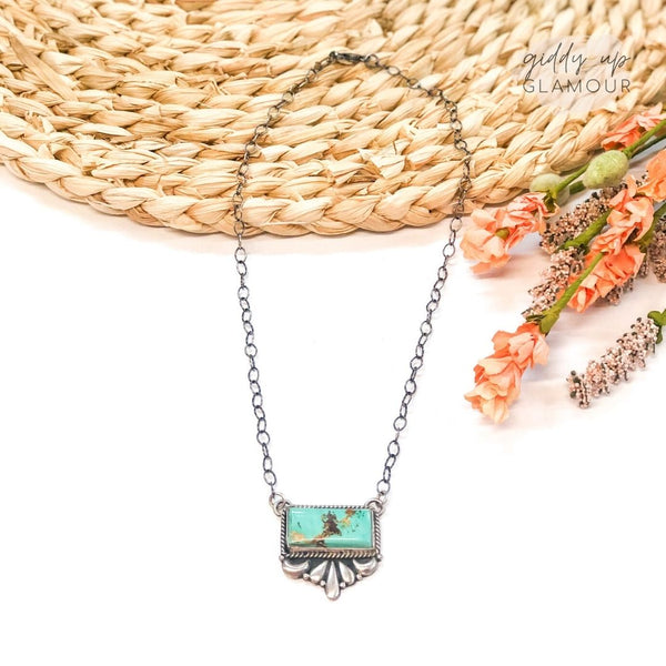 E Richards | Sterling Silver Chain Necklace with Silverwork and Turquoise Bar