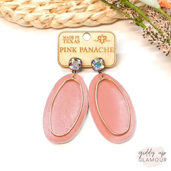 Pink Panache | Cushion Cut, Leather & Gold Accent Earrings in Blush Pink