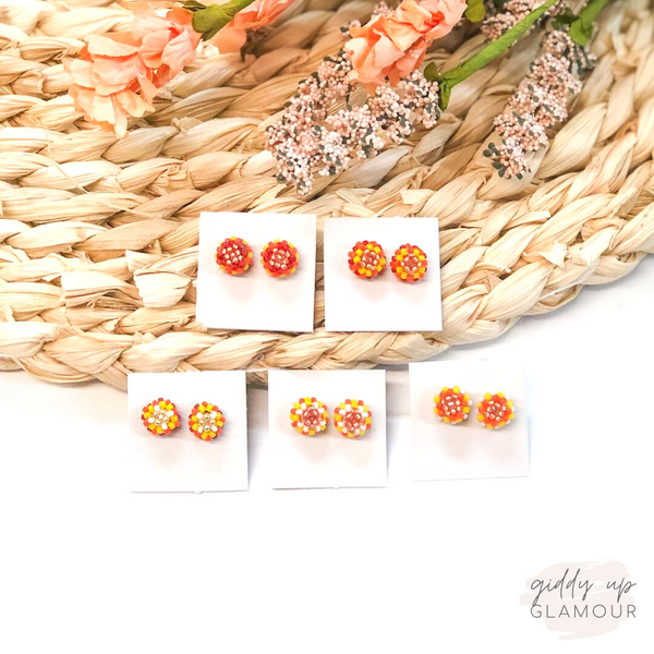 Navajo | Beaded Stud Earrings in Gold, Yellow, and Orange