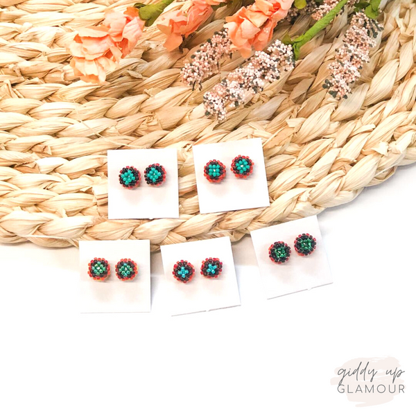 Navajo | Beaded Stud Earrings in Turquoise, Black and Orange