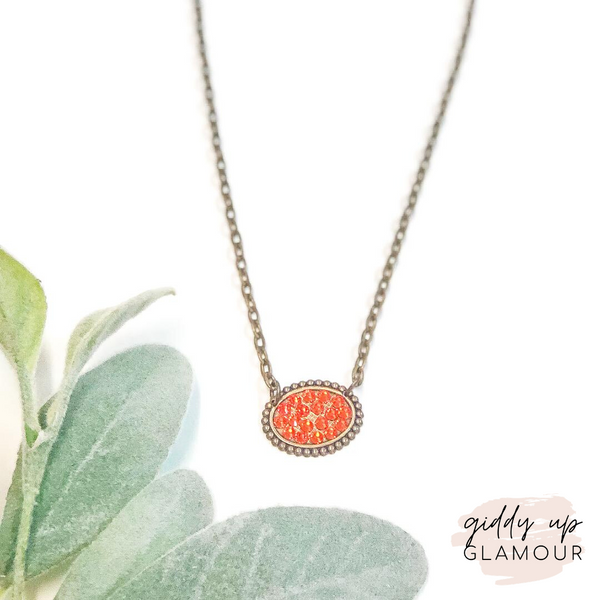 Pink Panache Mini Bronze Oval Necklace with Orange Crystals