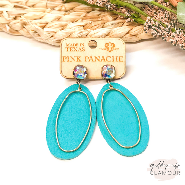 Pink Panache | Cushion Cut, Leather & Gold Accent Earrings in Turquoise
