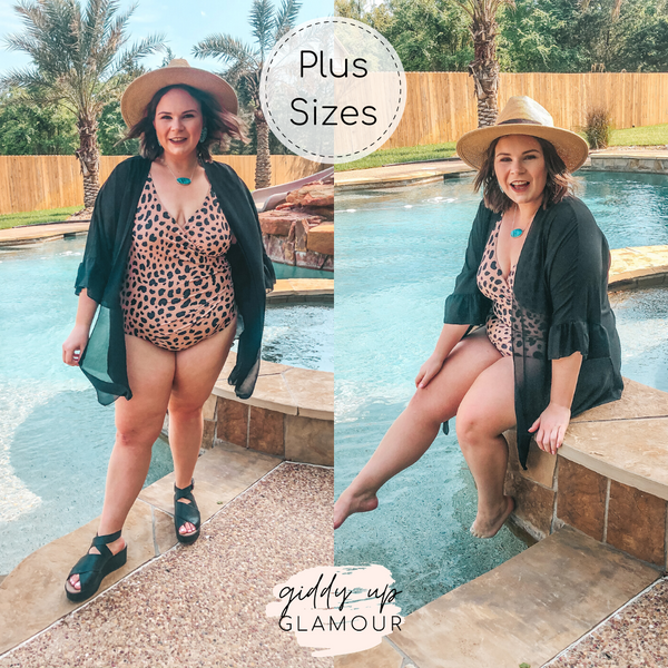Always Confident Wrapped One Piece Swimsuit with Ruffled Straps in Leopard