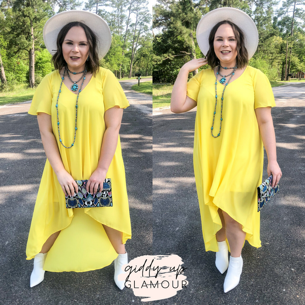 Girl On Fire Short Sleeve High-Low Dress with V-Neck in Lemon Yellow