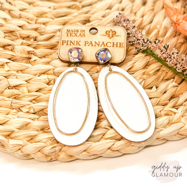 Pink Panache | Cushion Cut, Leather & Gold Accent Earrings in White