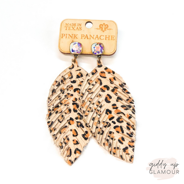 Pink Panache | Leopard Hide Feather Earrings on AB Cushion Cut Crystals