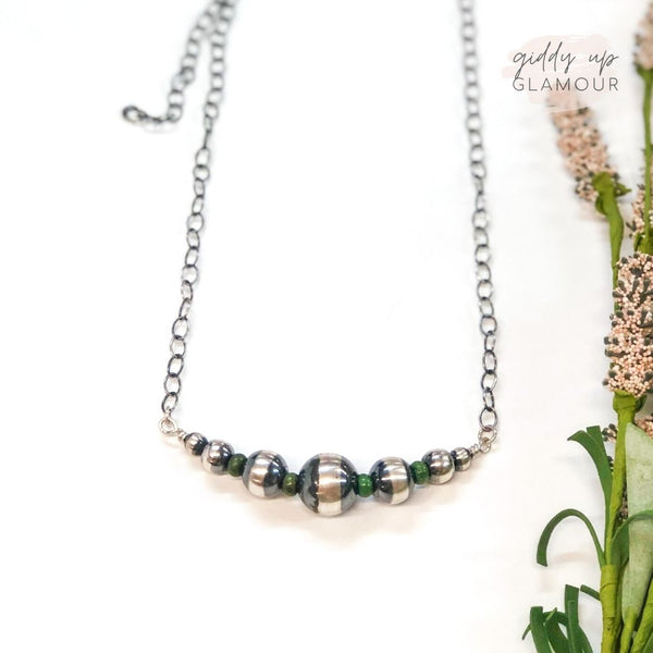 Navajo | Handmade Genuine Sterling Silver Graduated Pearls Necklace with Green Stone Spacers