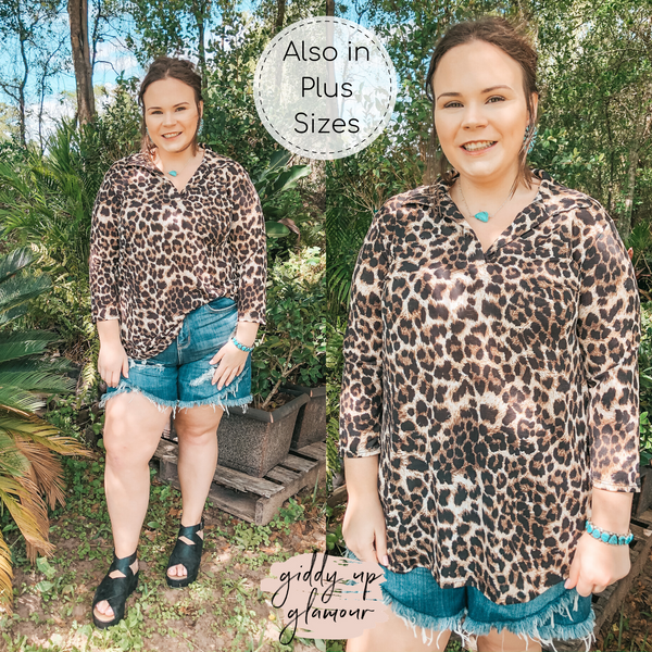 Scenic Route Collared Tunic Top in Leopard