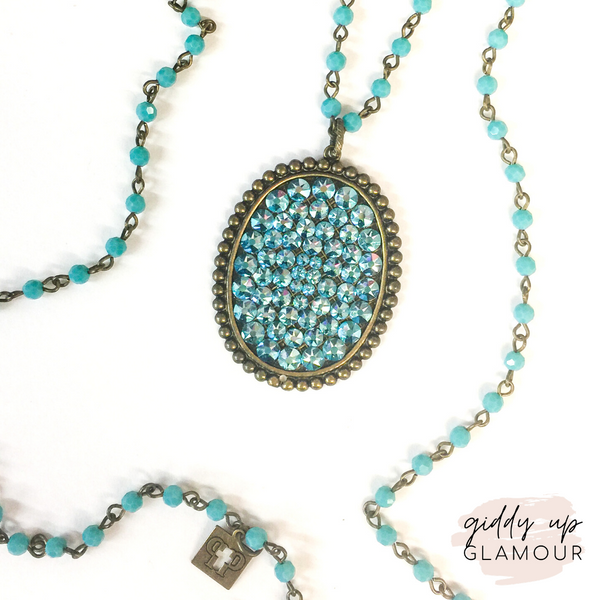 Pink Panache | Long Turquoise Crystal Necklace with Oval Covered in Aqua Crystals