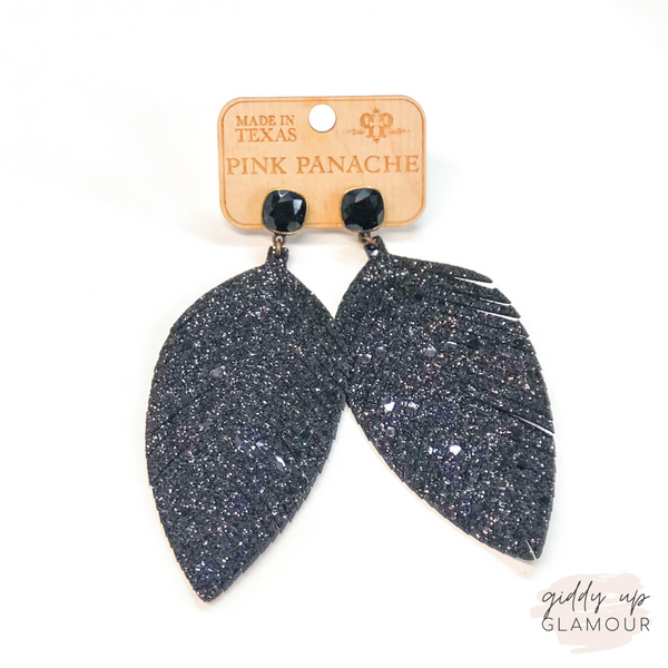 Pink Panache | Black Glitter Feather Earrings on Black Cushion Cut Crystals