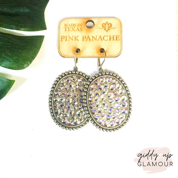 Pink Panache Silver Oval Earrings with Solid Crystals in AB
