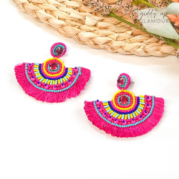 Whenever Wherever Beaded Fan Fringe Earrings in Pink