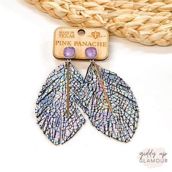 Pink Panache | Metallic Mermaid Feather Earrings with Gold Bar on Lavender Cushion Cut Crystal