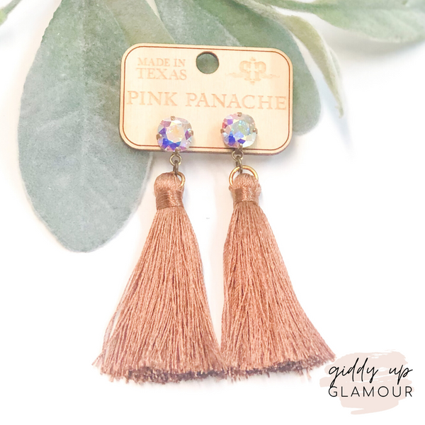 Pink Panache Mocha Tassel Earrings with AB Crystals