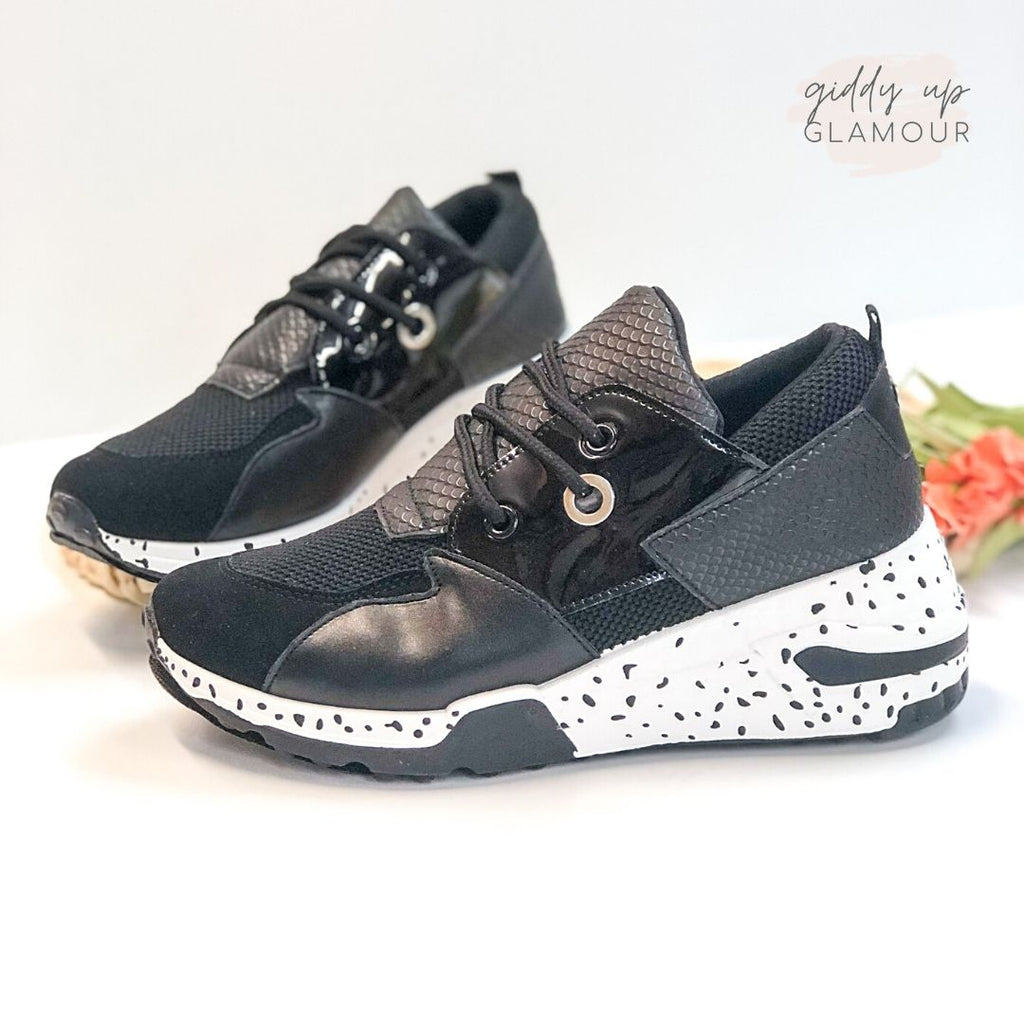 Dotted Thick Sole Sneakers in Black