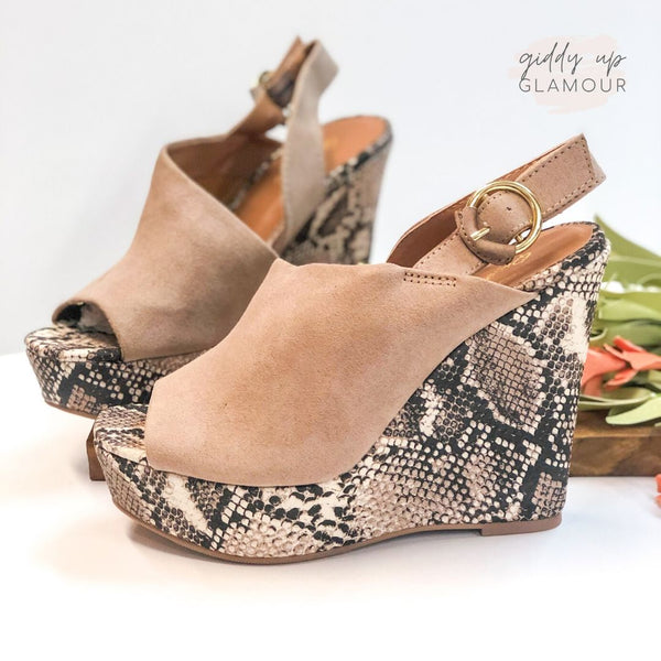 No Missteps Mule Sling Back Wedge Sandals in Snakeskin