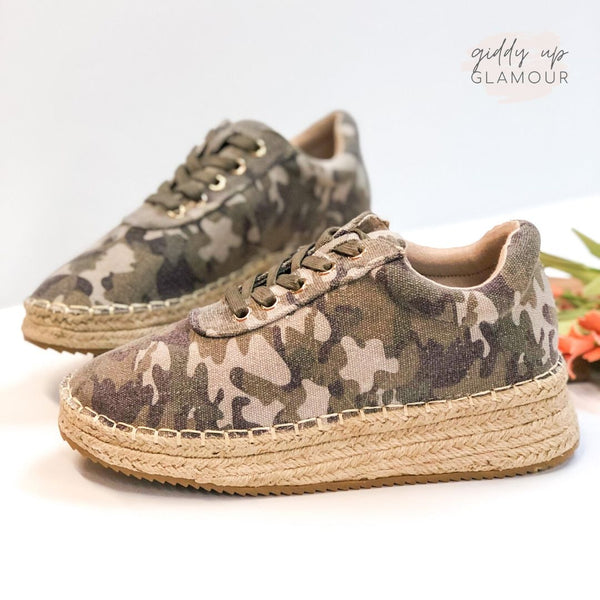 Ready to Roam Lace Up Espadrille Sneakers in Camo