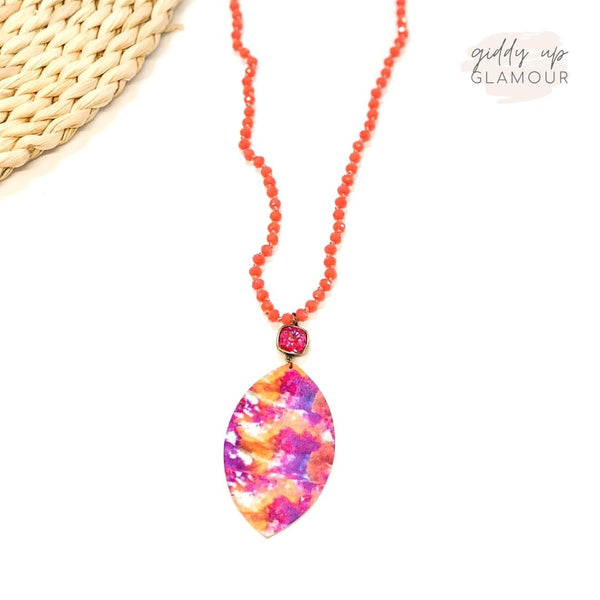 Pink Panache | Coral Beaded Tie Dye Necklace with Royal Red Delight Cushion Cut Crystal