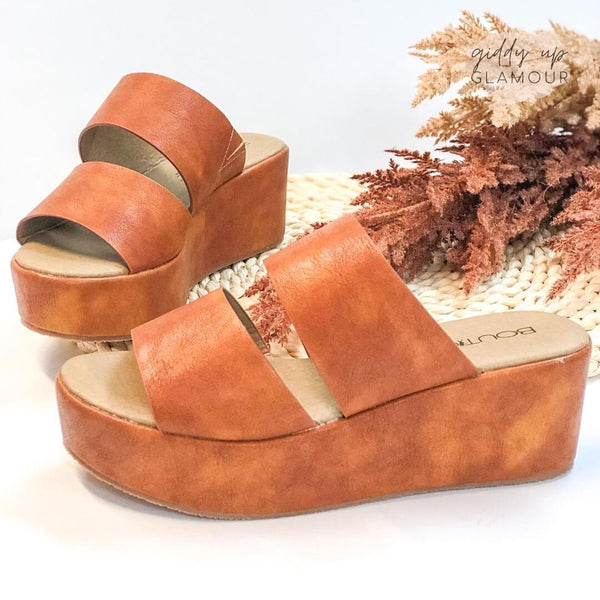 Corky's | Shamrock Double Strap Flatform Sandals in Cognac Brown