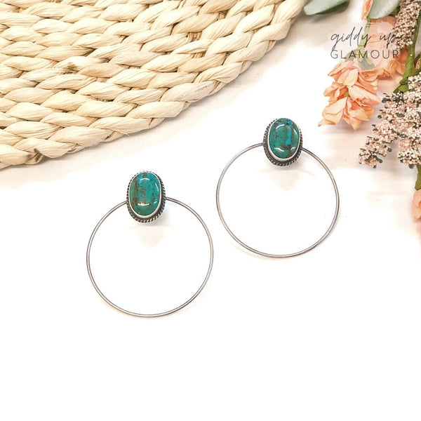 Elouise Kee | Genuine Sterling Silver and Kingman Turquoise Oval Stud Earrings on Hoop