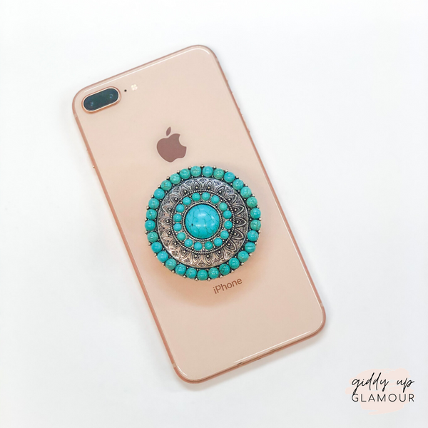 Round Concho Phone Grip with Turquoise Stones