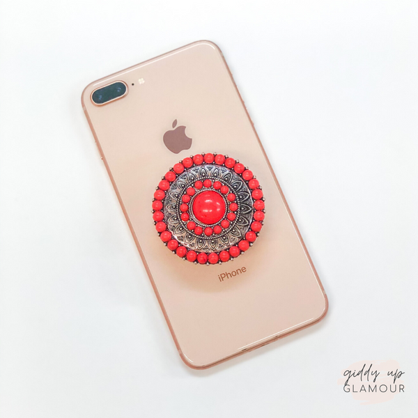 Round Concho Phone Grip with Red Stones