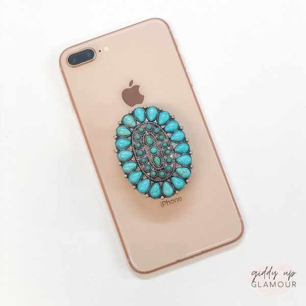 Oval Concho Phone Grip with Turquoise Stones