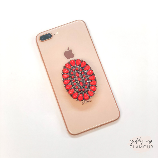 Oval Concho Phone Grip with Red Stones