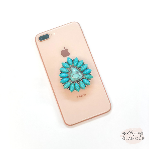 Turquoise Beaded and Silver Triangle Phone Grip