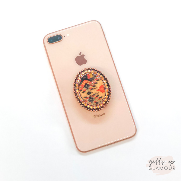 Aztec Phone Grip with Crystals in Copper