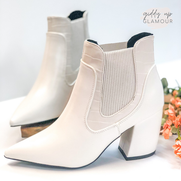 Till Closing Time Pointed Toe Booties in White Croc