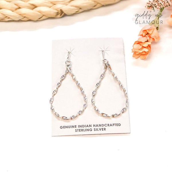 Nashina Tsosie | Handmade Sterling Silver Twisted Teardrop Earrings