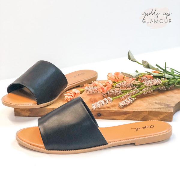 Beach Babe Slide On Sandals in Black