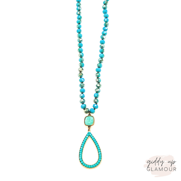 Pink Panache | Crystal Beaded Necklace with Aqua Beaded Teardrop on Pacific Opal Cushion Cut Crystal