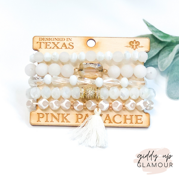 Pink Panache | Crystal and White Tassel Bracelet Set