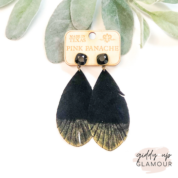 Pink Panache | Black Gold Dipped Feather Earrings on Black Cushion Cut Crystals