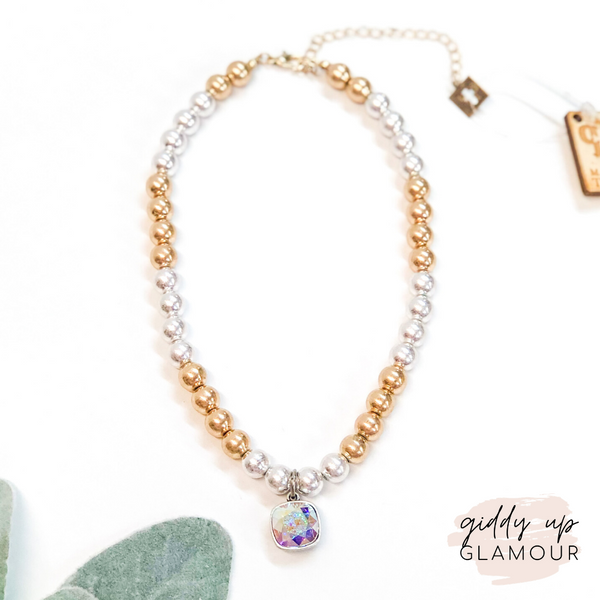 Pink Panache | Gold and Silver Beaded Necklace with AB Cushion Cut Crystal