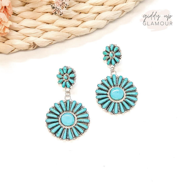 Pamela Benally | Genuine Navajo Sterling Silver Flower Double Cluster Turquoise Earrings