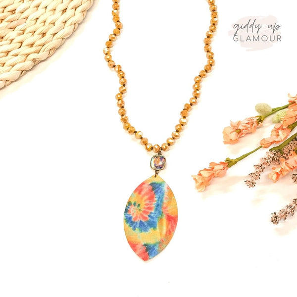 Pink Panache | Mustard Beaded Tie Dye Necklace with AB Cushion Cut Crystal