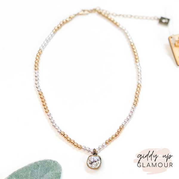 Pink Panache | Gold and Silver Small Beaded Necklace with Clear Cushion Cut Crystal