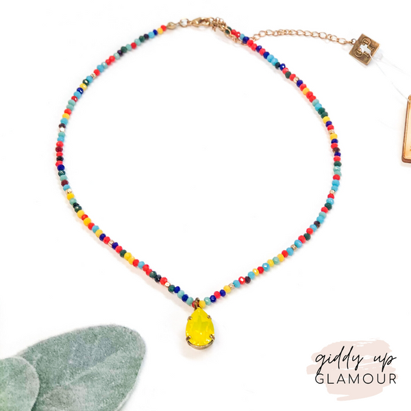 Pink Panache | Multi Crystal Beaded Necklace with Yellow Teardrop Crystal