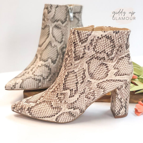 Keep Working It Pointed Toe Heeled Booties in Snakeskin