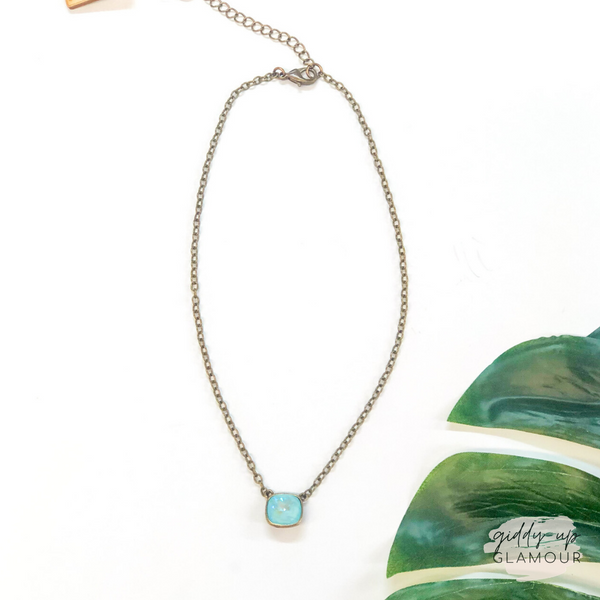 Pink Panache | Bronze Chain Necklace with Cushion Cut Crystal in Ultra Turquoise