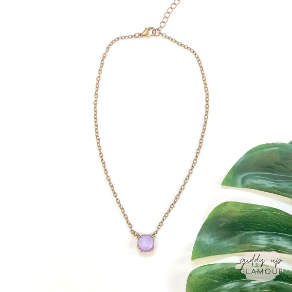 Pink Panache | Bronze Chain Necklace with Cushion Cut Crystal in Lilac