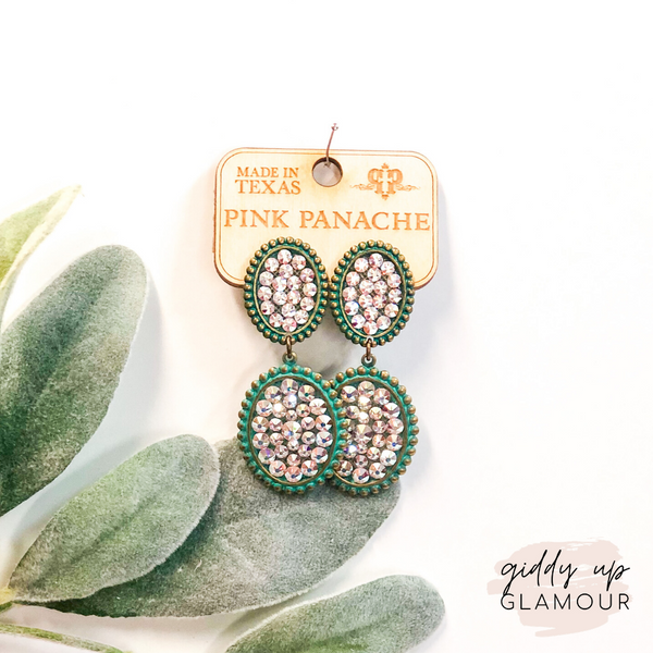 Pink Panache Turquoise Mini and Small Oval Dangle Earrings with AB Crystals